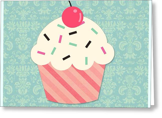 Women Only Mixed Media Greeting Cards - Cupcake 2 Greeting Card by Lisa Piper Menkin Stegeman