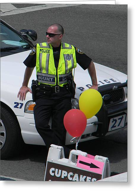 Police Cruiser Greeting Cards - Cupcake and Balloon Checkpoint Greeting Card by Christy Usilton
