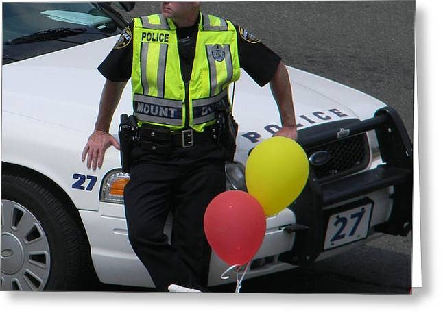 Cupcake and Balloon Checkpoint Greeting Card by Christy Usilton