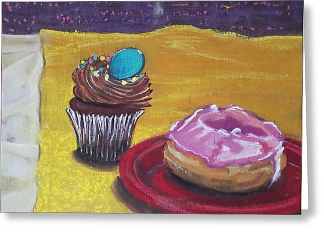 Donuts Pastels Greeting Cards - Cupcake and Donut Greeting Card by Karen Coggeshall