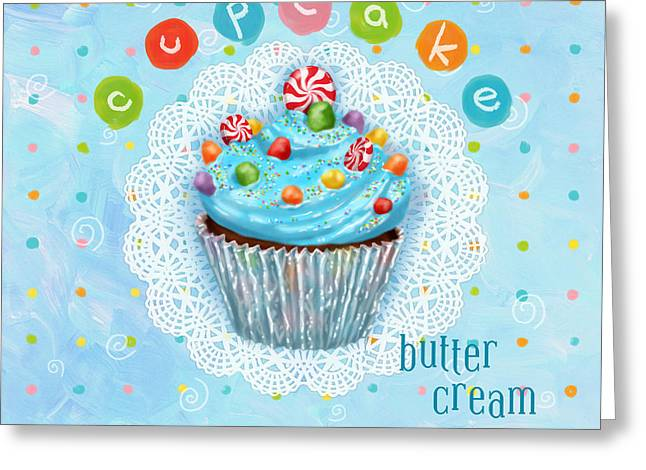 Cheese Cake Greeting Cards - Cupcake-Butter Cream Greeting Card by Shari Warren