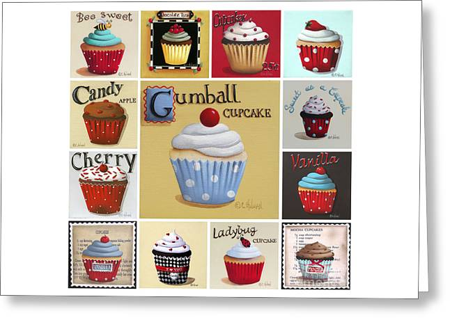 Catherine Greeting Cards - Cupcake Collage Greeting Card by Catherine Holman