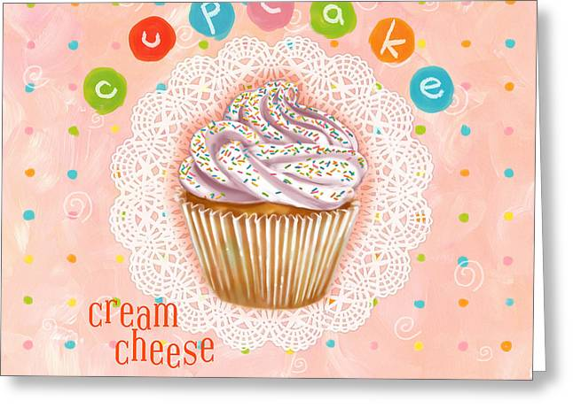 Cheese Cake Greeting Cards - Cupcake-Cream Cheese Greeting Card by Shari Warren