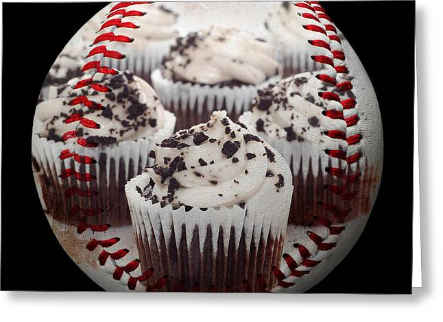 Take-out Mixed Media Greeting Cards - Cupcake Cuties Baseball Square Greeting Card by Andee Design