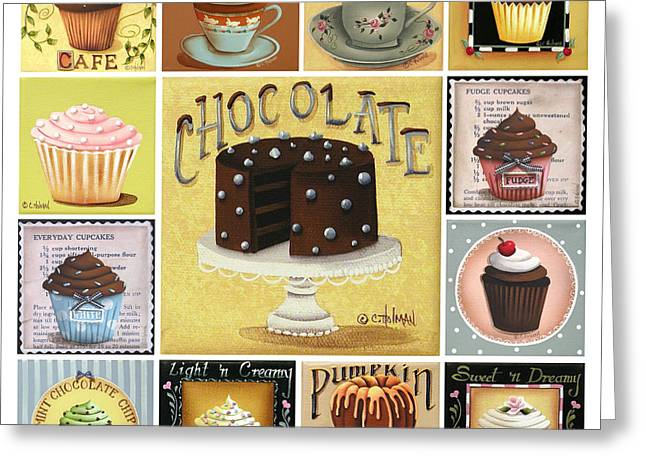 Folk Art Paintings Greeting Cards - Cupcake Mosaic Greeting Card by Catherine Holman