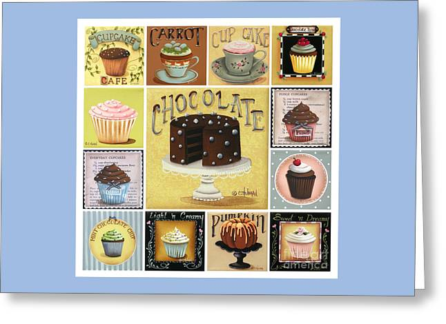 Catherine Holman Greeting Cards - Cupcake Mosaic Greeting Card by Catherine Holman