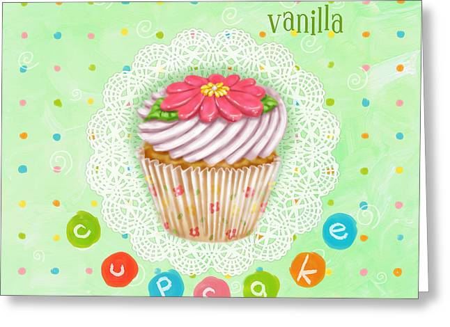 Cupcakes Greeting Cards - Cupcake-Vanilla Greeting Card by Shari Warren