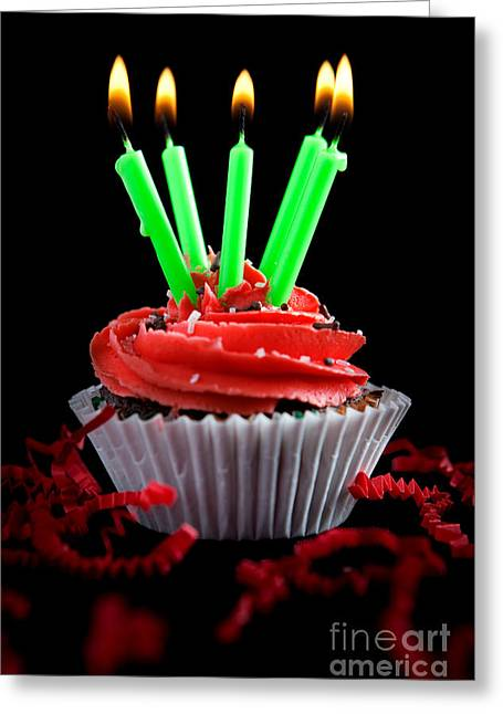 Cupcake Photography Greeting Cards - Cupcake with Candles and Flames Greeting Card by Cindy Singleton