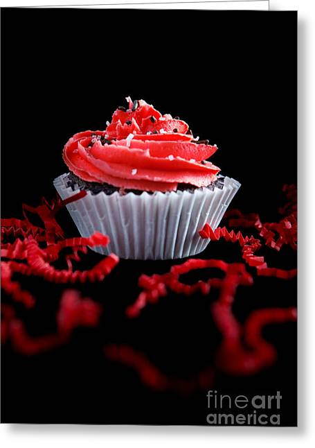 Cupcake Photography Greeting Cards - Cupcake with Red Icing Greeting Card by Cindy Singleton