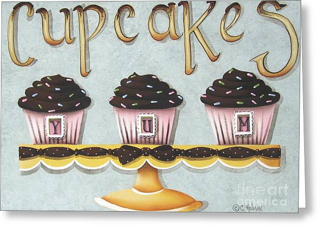 Primitive Greeting Cards - Cupcake Yum Greeting Card by Catherine Holman