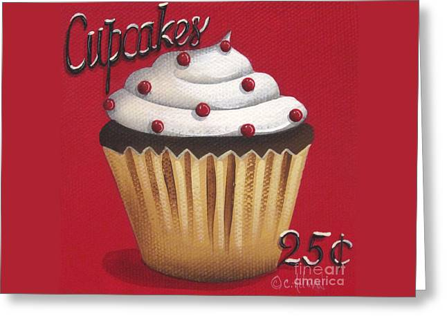 Catherine Holman Greeting Cards - Cupcakes 25 cents Greeting Card by Catherine Holman