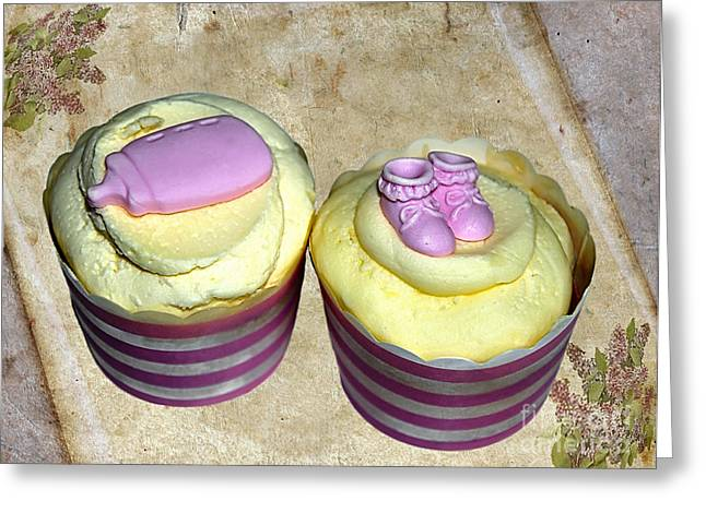 Cupcakes - Booties And Baby Bottle Greeting Card by Kaye Menner