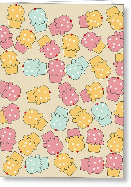 Color Colorful Greeting Cards - Cupcakes Greeting Card by Neelanjana  Bandyopadhyay