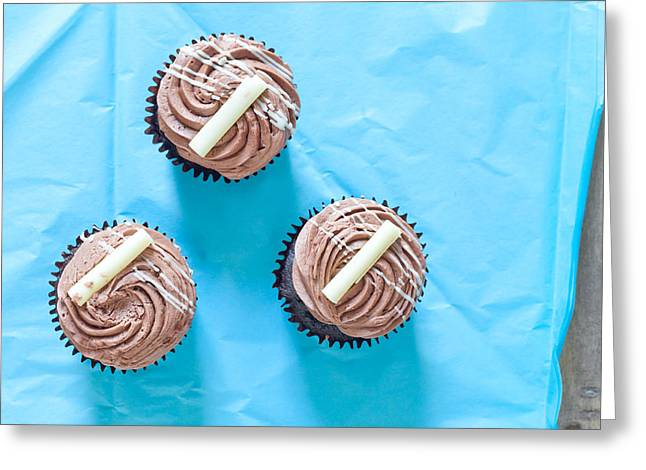 Chocolate Frosting Greeting Cards - Cupcakes Greeting Card by Tom Gowanlock