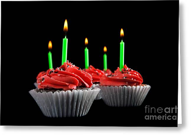 Cupcake Photography Greeting Cards - Cupcakes with Candles Greeting Card by Cindy Singleton