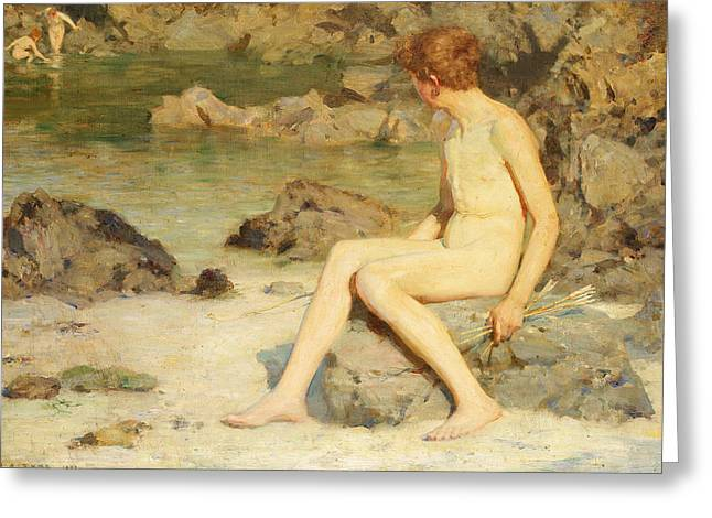 Tuke Greeting Cards - Cupid and Sea Nymphs Greeting Card by Henry Scott Tuke