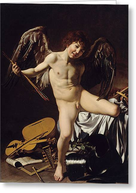 Caravaggio Paintings Greeting Cards - Cupid as Victor Greeting Card by Caravaggio
