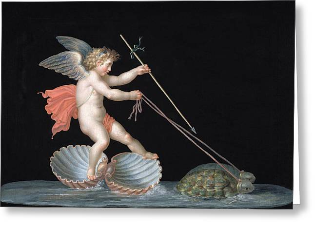 Tortoise Greeting Cards - Cupid Being Led By Tortoises Greeting Card by Michelangelo Maestri