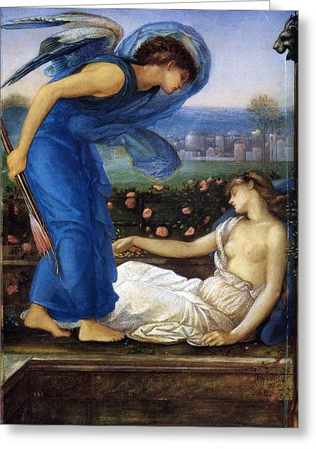 Eros And Psyche Greeting Cards - Cupid Finding Psyche Greeting Card by Edward Burne Jones