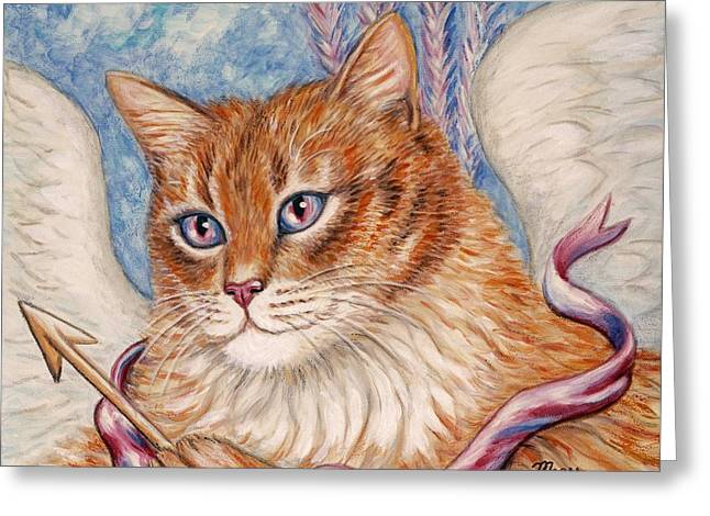 Best Sellers Greeting Cards - Cupid Kitty Greeting Card by Linda Mears