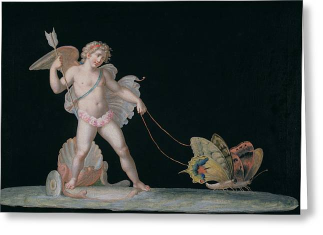 Eros Greeting Cards - Cupid Led By Butterflies Greeting Card by Michelangelo Maestri
