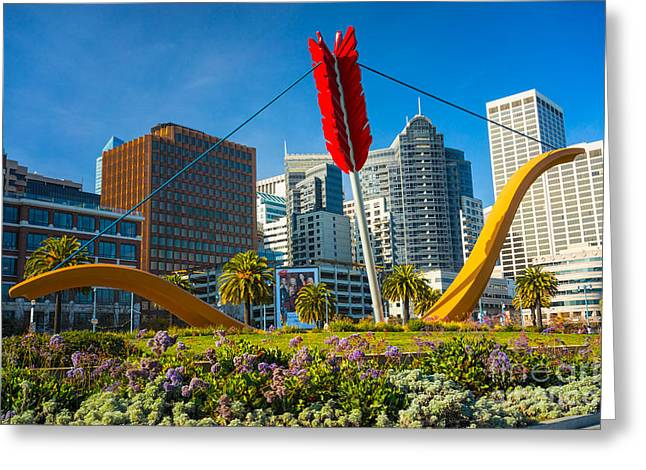 Rincon Greeting Cards - Cupids Span statue in San Francisco Greeting Card by Luciano Mortula