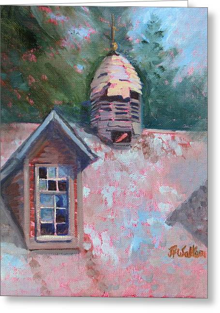 Cupola Paintings Greeting Cards - Cupola and Broken Windows Greeting Card by Judy Fischer Walton