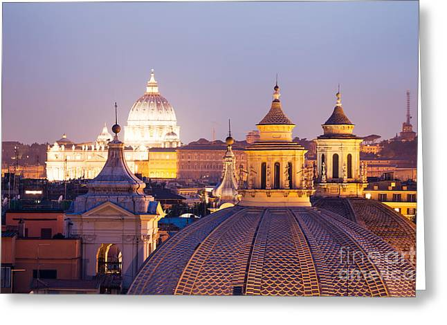 Cupola Greeting Cards - Cupolas and roofs Rome Italy Greeting Card by Matteo Colombo