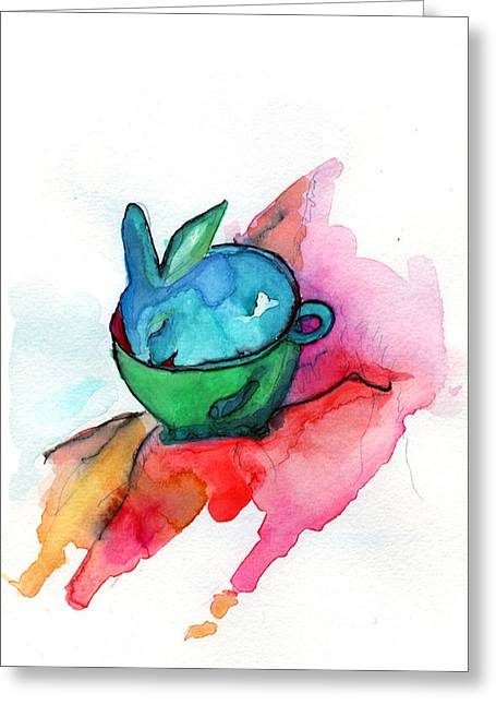 Bunny In Cup Greeting Cards - Cuppa Bunny Greeting Card by Niya Christine