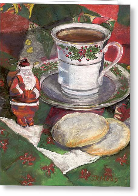 Red And White Quilt Greeting Cards - Cuppa Christmaas Tea Greeting Card by Julie Maas