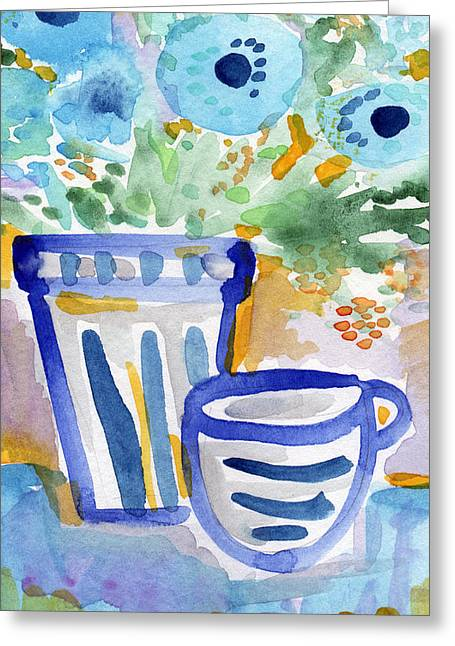 Blue Flowers Mixed Media Greeting Cards - Cups and Flowers-  watercolor floral painting Greeting Card by Linda Woods