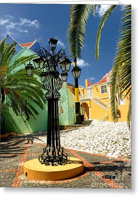 Cobblestone Greeting Cards - Curacao Colorful Architecture Greeting Card by Amy Cicconi