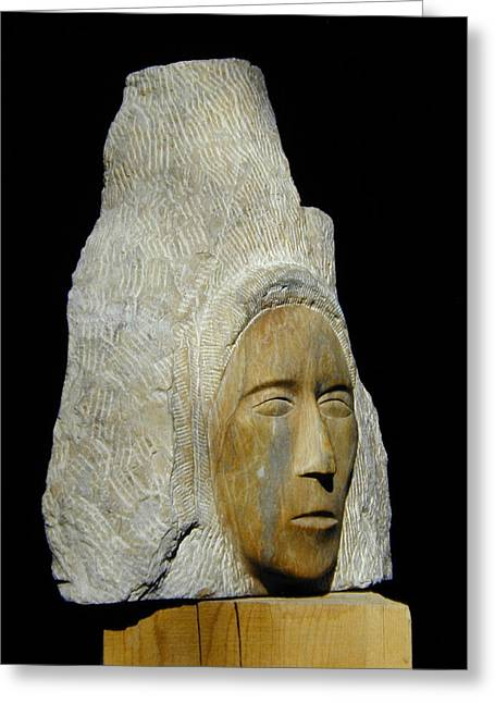Traditional Art Sculptures Greeting Cards - Curandera Greeting Card by Manuel Abascal