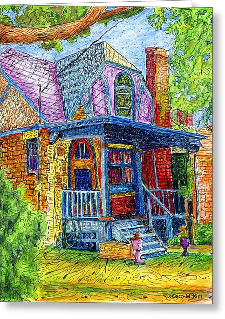 Residential Drawings Greeting Cards - Curb Appeal Greeting Card by Jo-Anne Gazo-McKim
