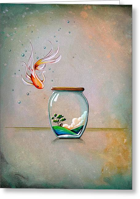 Water Jars Greeting Cards - Curiosity Greeting Card by Cindy Thornton
