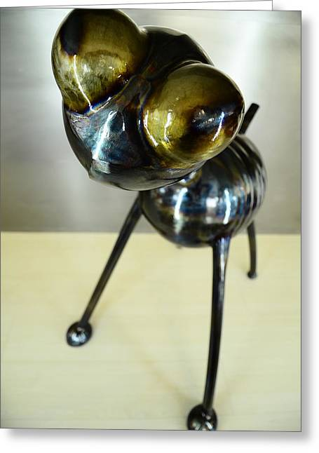 Iron Sculptures Greeting Cards - Curiosity Greeting Card by Dennis Smiderle