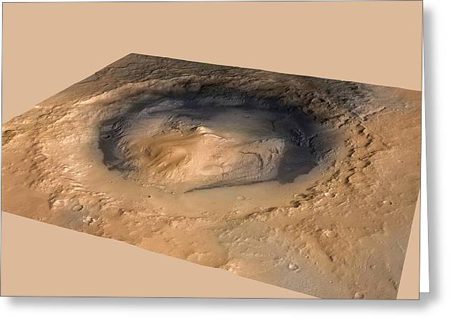 Curiosity Rover Greeting Cards - Curiosity rover in Gale Crater, Mars Greeting Card by Science Photo Library