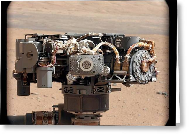 Curiosity Rover Greeting Cards - Curiosity rovers robotic arm, Mars Greeting Card by Science Photo Library