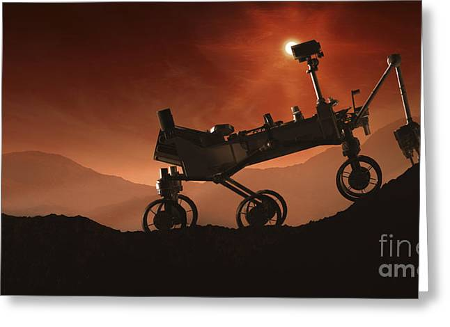 Incline Greeting Cards - Curiosity The Mars Mountaineer Greeting Card by Steven Hobbs