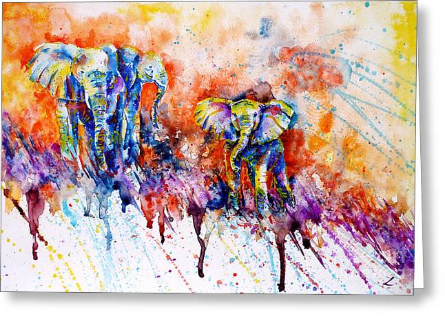 Impressionistic Greeting Cards - Curious Baby Elephant Greeting Card by Zaira Dzhaubaeva