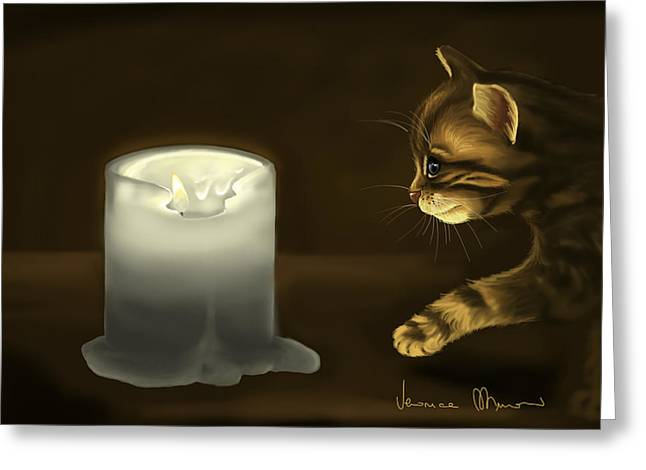 Candle Lit Paintings Greeting Cards - Curious cat Greeting Card by Veronica Minozzi