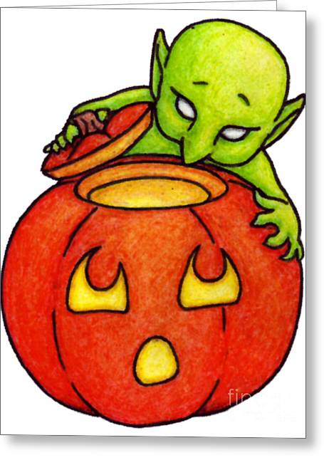 Tricks Pastels Greeting Cards - Curious Goblin Greeting Card by Samantha Geernaert