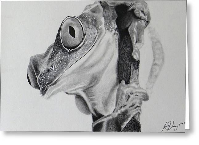 Hyper-realism Mixed Media Greeting Cards - Curious Frog Greeting Card by Isaac Priego