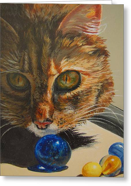 Best Sellers -  - Marble Eye Greeting Cards - Curious Greeting Card by Karen Ilari