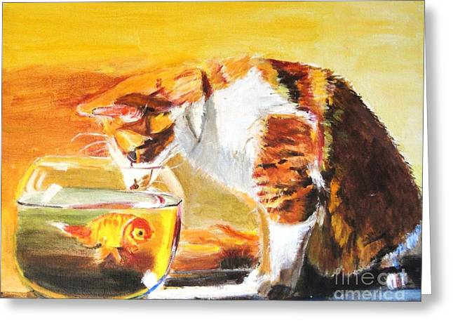Judy Kay Art Greeting Cards - Curious Kitty Greeting Card by Judy Kay
