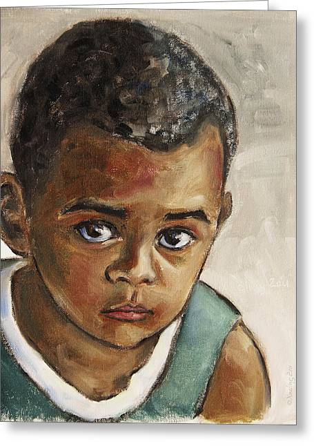 African-americans Greeting Cards - Curious Little Boy Greeting Card by Xueling Zou