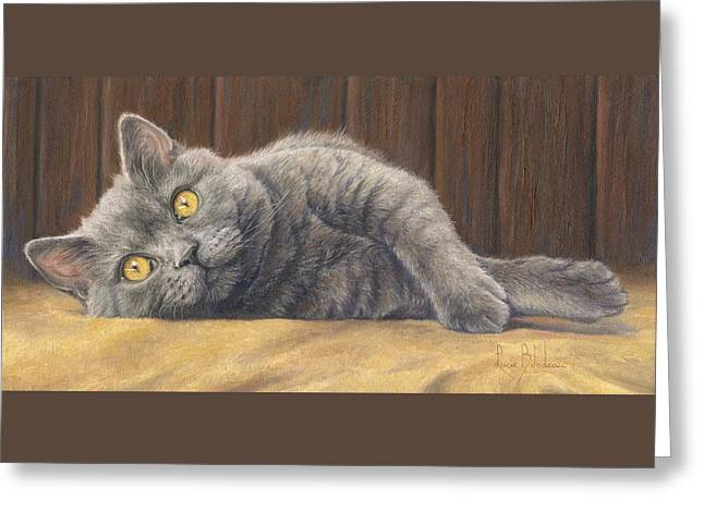 Blue Cat Greeting Cards - Curious Max Greeting Card by Lucie Bilodeau