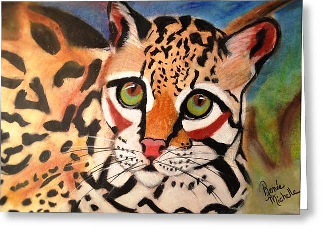 Hunter Pastels Greeting Cards - Curious Ocelot Greeting Card by Renee Michelle Wenker