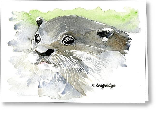Curious Otter Greeting Card by Karen  Loughridge KLArt