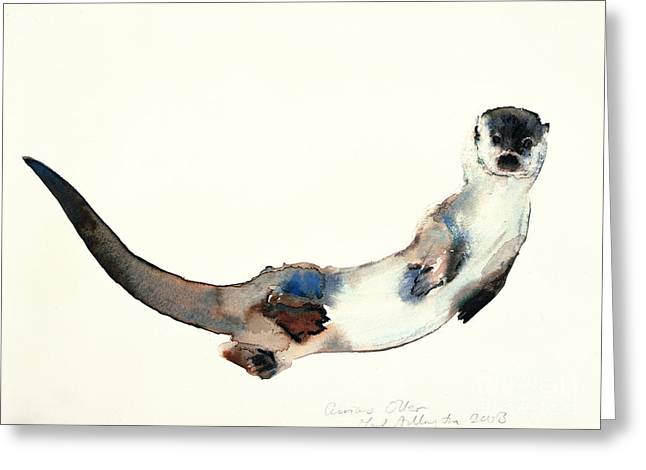 Contemporary Art Paintings Greeting Cards - Curious Otter Greeting Card by Mark Adlington